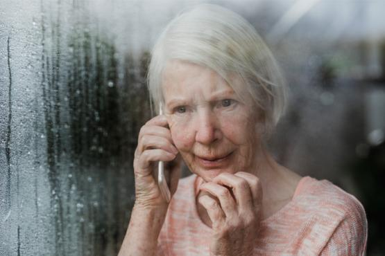 Worried Woman on Phone